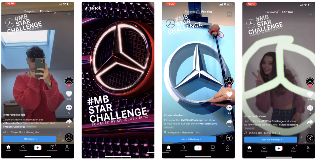 Collage of Mercedes Brand Takeover Example from TikTok
